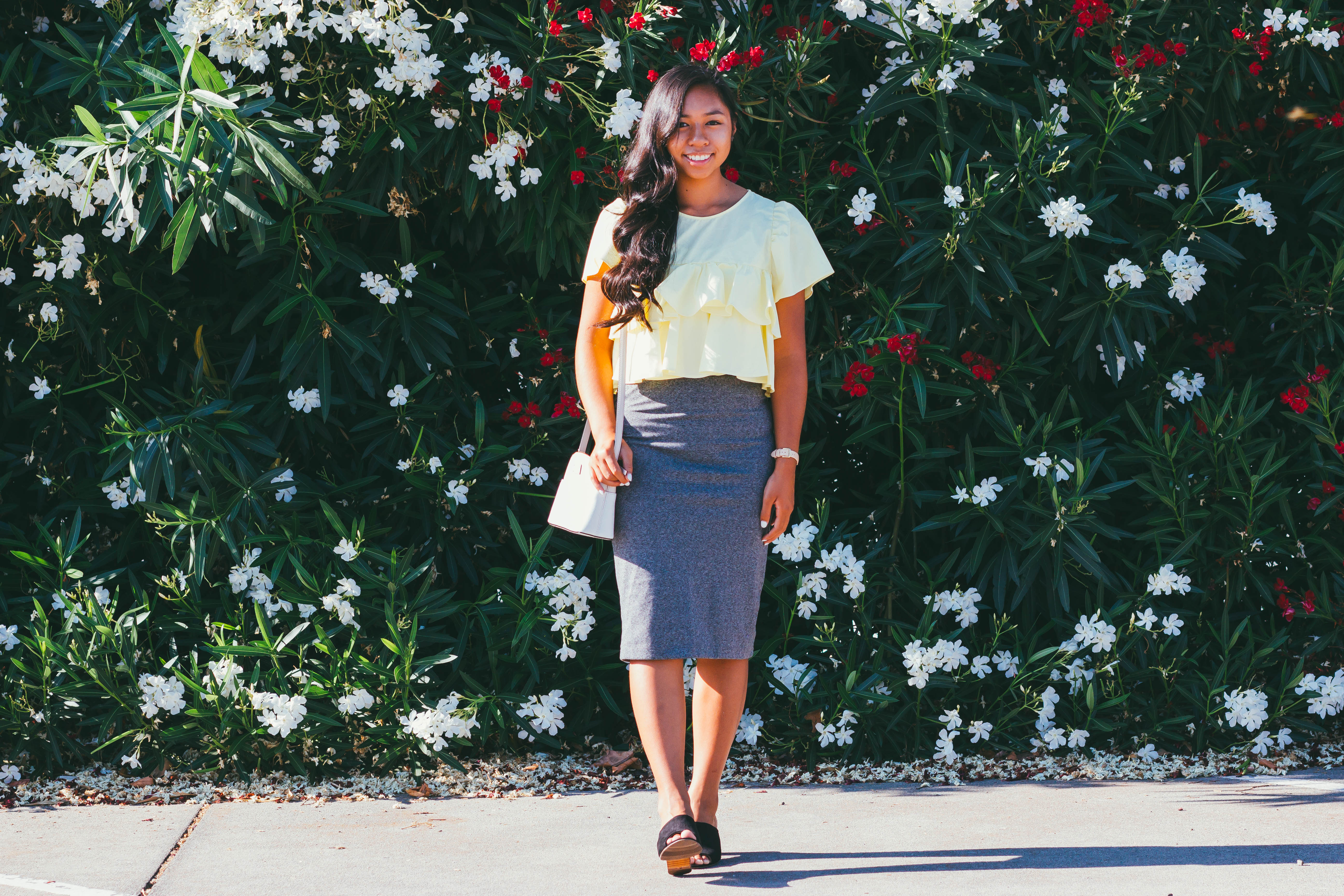 Keep a Grateful Spirit | Zara yellow top, H&M gray skirt, and black heels modest outfit for the summer