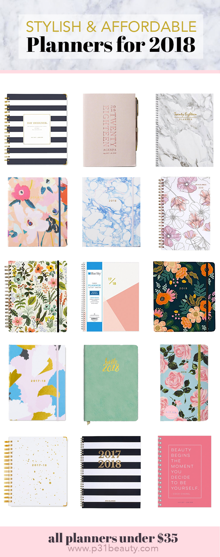 15 stylish and affordable planners under $35 for school, work, blogging, and day to day planning
