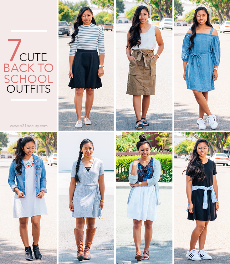 7 cute and modest back to school outfits that you can wear in high school and college. These outfits are also great summer to fall transition looks | P31beauty